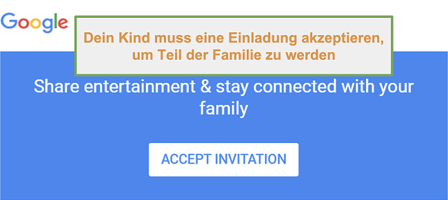 Screenshot der Einladung von Google Family Link zur Teilnahme