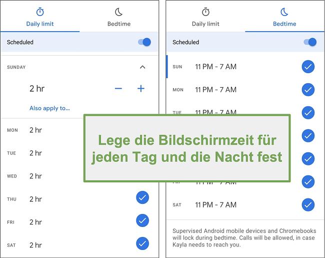 Screenshot der Bildschirmzeiteinstellungen von Google Family Link für jeden Tag und jede Nacht