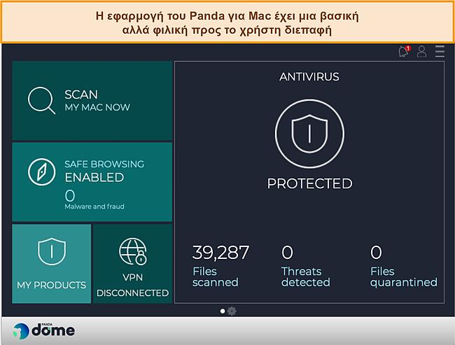 Στιγμιότυπο οθόνης του πίνακα ελέγχου της εφαρμογής Panda's Mac