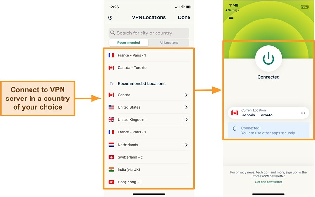 Screenshot of connecting to Canada server on ExpressVPN iOS app.