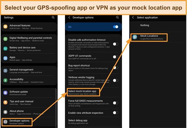 Screenshots of selecting a mock location app in Developer Options