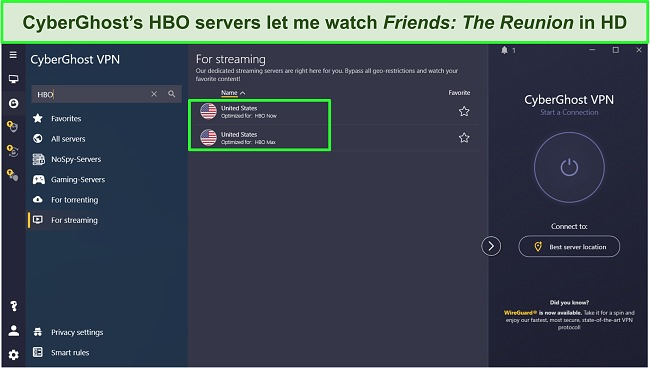 Screenshot of CyberGhost's servers optimized for HBO.