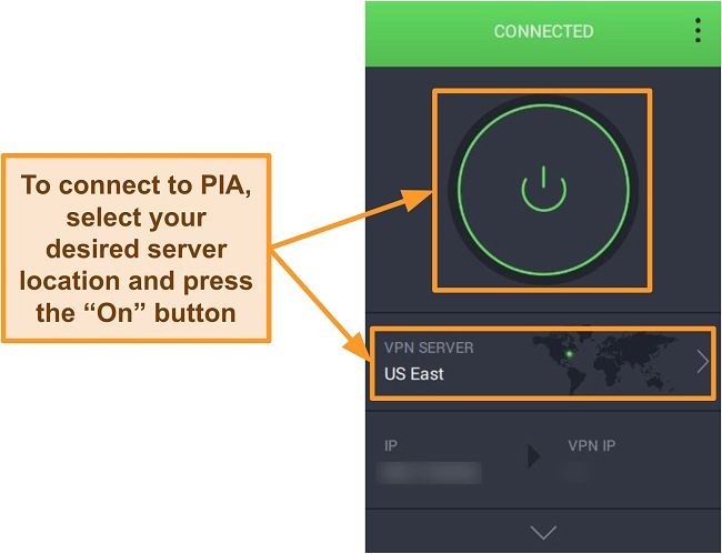 Screenshot of PIA's app user interface.