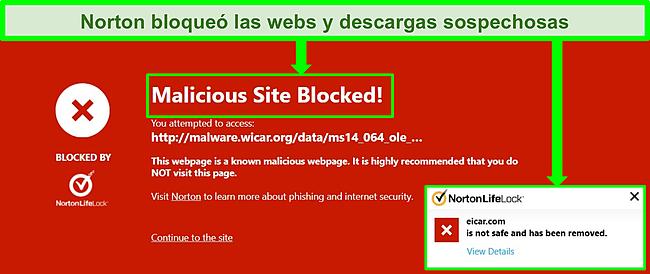 Captura de pantalla de Norton 360 que bloquea elementos maliciosos