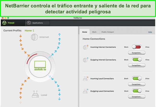 Captura de pantalla del firewall de Intego que monitorea el tráfico entrante y saliente