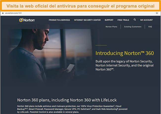 Captura de pantalla de la página de inicio del sitio web de Norton 360