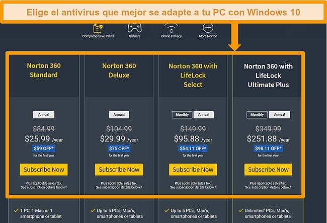 Captura de pantalla de las opciones del plan de Norton 360.