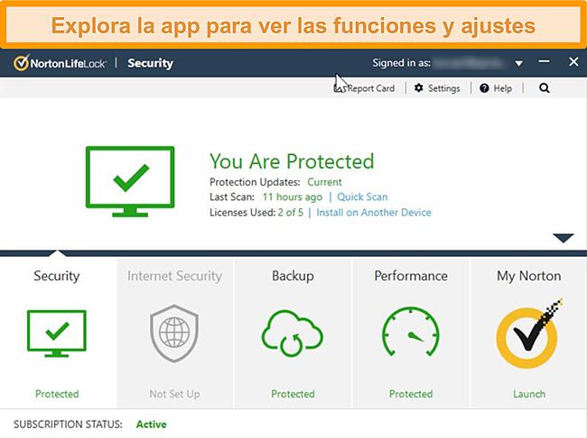 Captura de pantalla del panel de la aplicación Norton 360 para Windows
