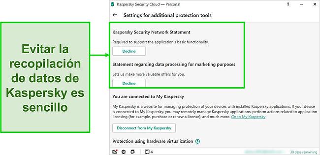 Captura de pantalla de la configuración de recopilación de datos de Kaspersky