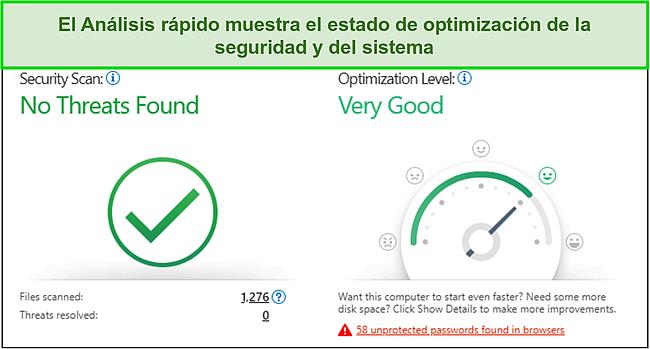 Captura de pantalla del análisis rápido de Trend Micro que muestra información sobre seguridad y optimización del sistema