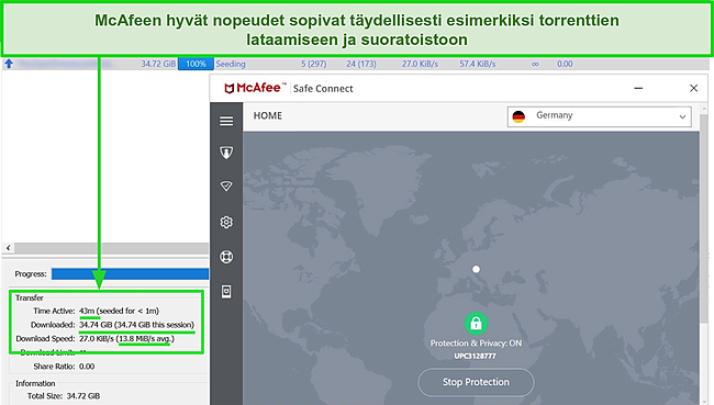 Näyttökuva McAfee Safe Connect VPN -palvelimesta