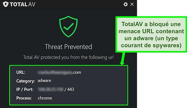 Capture d'écran montrant TotalAV bloquant un adware hébergeant une URL malveillante.