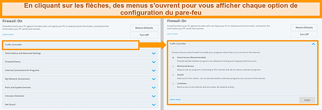 Capture d'écran des options de pare-feu de McAfee.