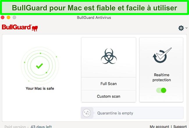 Capture d'écran de l'interface de l'application BullGuard sur Mac.