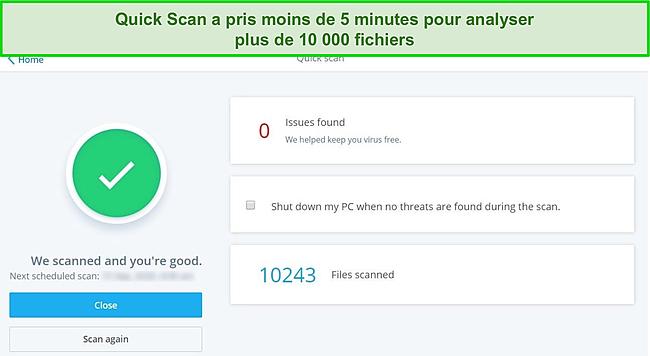 Capture d'écran de la page de résultats de l'analyse rapide de McAfee