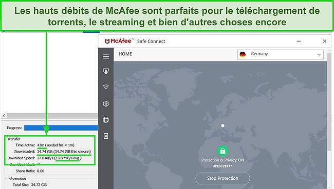 Capture d'écran du VPN McAfee Safe Connect se connectant à un serveur