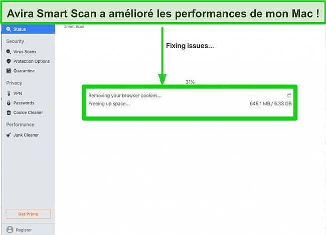 Capture d'écran de l'analyse intelligente d'Avira supprimant les cookies de navigation sur Mac