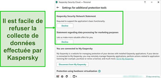 Capture d'écran des paramètres de collecte de données de Kaspersky