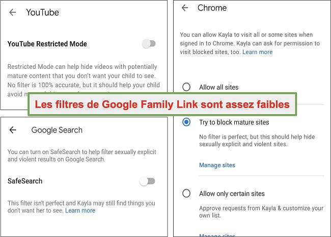 Capture d'écran des filtres assez faibles de Google Family Link
