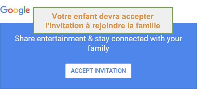 Capture d'écran de l'invitation à rejoindre Google Family Link