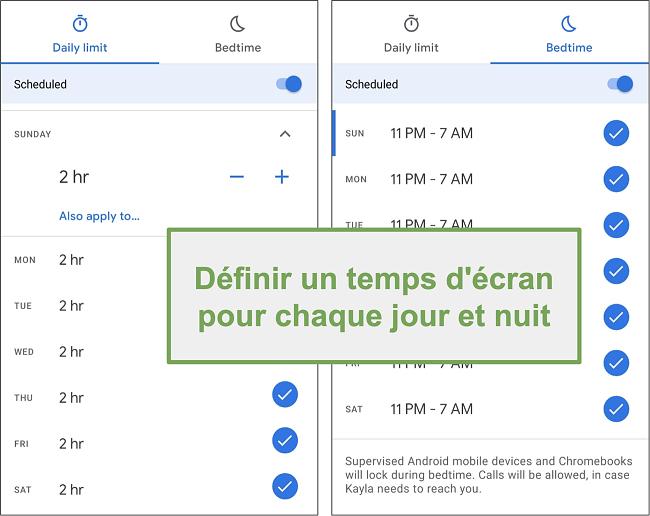 Capture d'écran des paramètres d'heure d'écran de Google Family Link pour chaque jour et nuit