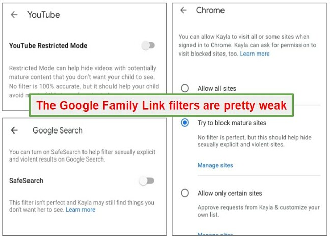 Family Link filters