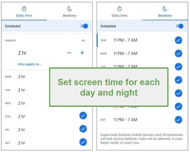Family Link screen time limits