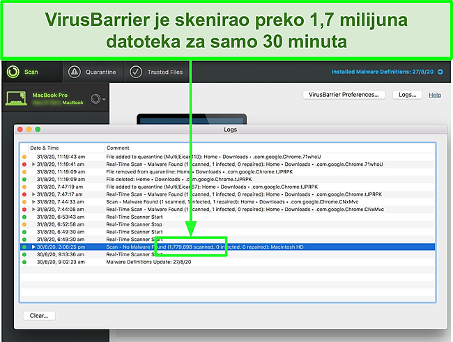 Snimak zaslona Integoove VirusBarrier koji vrši skeniranje virusa na Macu