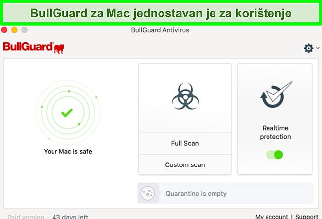 Snimak zaslona sučelja aplikacije BullGuard na Macu.