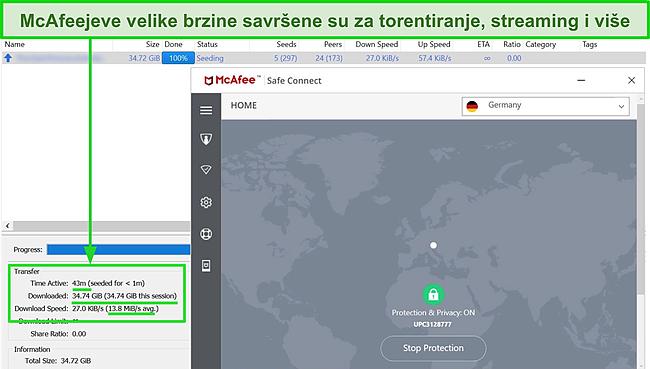 Snimka zaslona McAfee Safe Connect VPN spajanja na poslužitelj