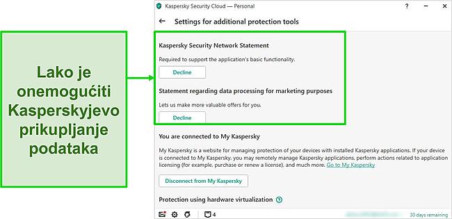 Snimka zaslona Kasperskyjevih postavki prikupljanja podataka
