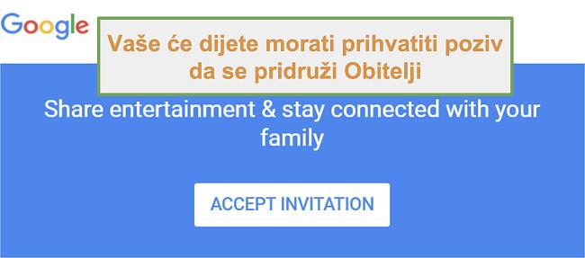 Snimka zaslona poziva Google Family Linka za pridruživanje