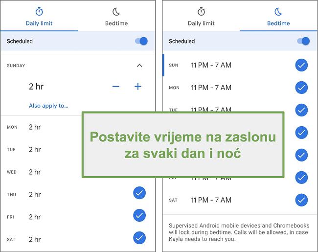 Snimka zaslona postavki vremena upotrebe zaslona Google Family Linka za svaki dan i noć