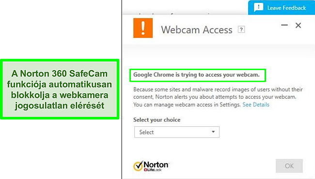 Pillanatkép arról, hogy a Norton blokkolja a Google Chrome kísérletét a webkamera elérésére.