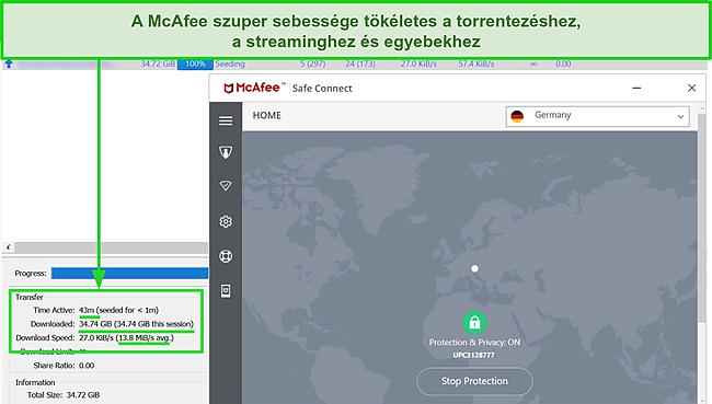 Képernyőkép a McAfee Safe Connect VPN szerverhez csatlakozásáról