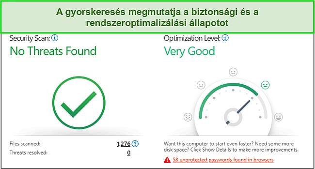 Pillanatkép a Trend Micro gyorskeresésről, amely biztonsági és rendszeroptimalizálási információkat tartalmaz