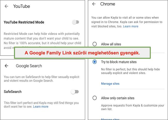 Pillanatkép a Google Family Link elég gyenge szűrőiről