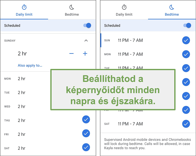 Pillanatkép a Google Family Link képernyőjének időbeállításairól minden nappal és éjjel