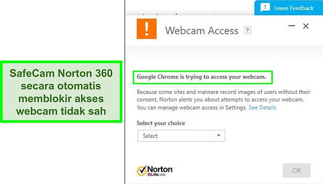 Tangkapan layar dari Norton yang memblokir upaya Google Chrome untuk mengakses webcam.