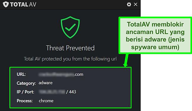 Tangkapan layar menunjukkan TotalAV memblokir adware hosting URL berbahaya.