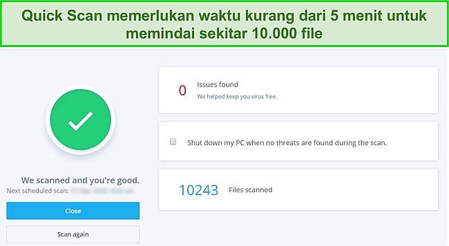 Tangkapan layar dari halaman hasil Quick Scan McAfee