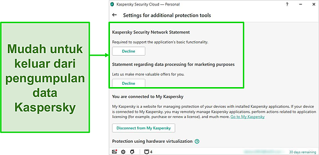Tangkapan layar dari pengaturan pengumpulan data Kaspersky
