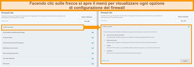 Screenshot delle opzioni del firewall di McAfee.