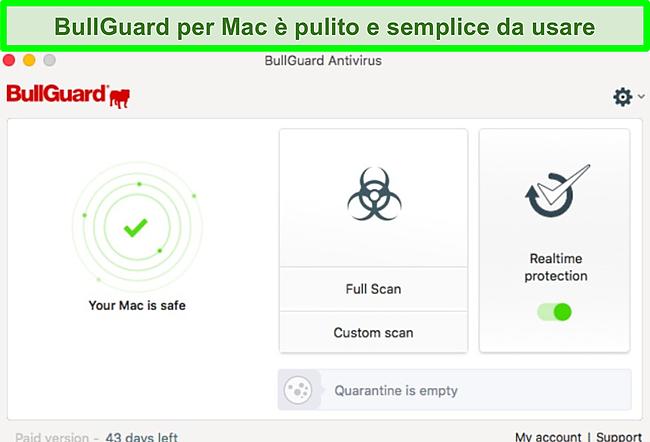 Screenshot dell'interfaccia dell'app BullGuard su Mac.