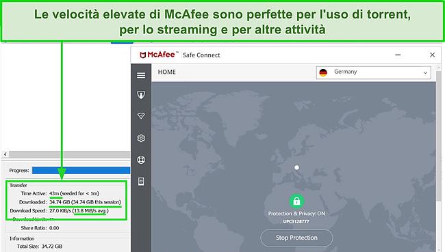 Screenshot di McAfee Safe Connect VPN che si connette a un server