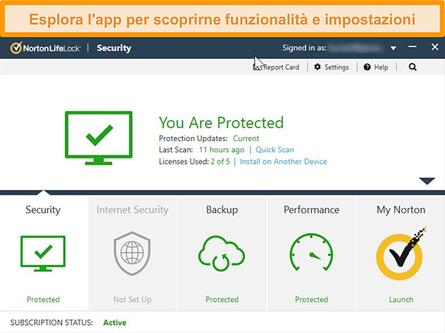 Screenshot del dashboard dell'app Norton 360 per Windows