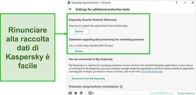 Screenshot delle impostazioni di raccolta dati di Kaspersky