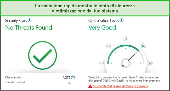 Screenshot della scansione rapida di Trend Micro che mostra le informazioni sulla sicurezza e sull'ottimizzazione del sistema