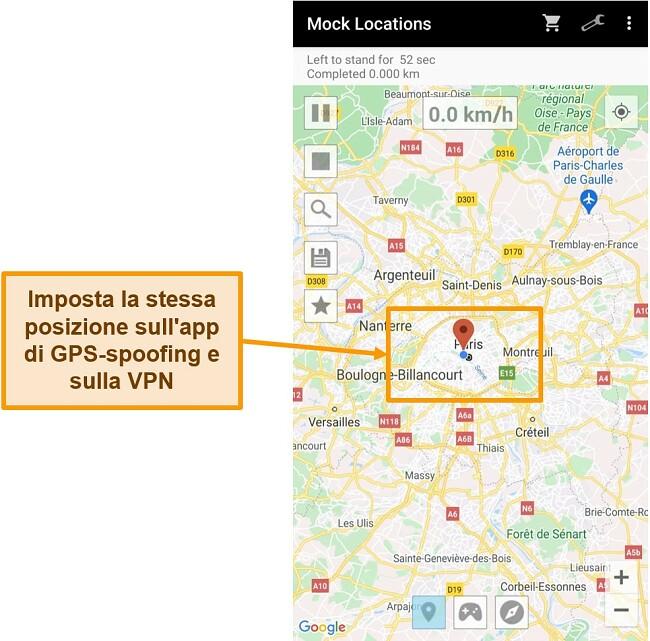 Screenshot della modifica della posizione in un'app di spoofing GPS
