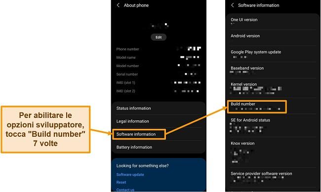 Screenshot dell'abilitazione delle opzioni sviluppatore nelle impostazioni del telefono